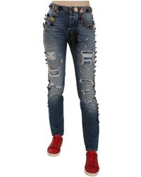 Dolce & Gabbana Verontrust Verfraaid Knoppen Denim Broek Jeans - Blauw