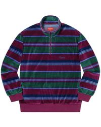 Supreme Stripe Velour Half Zip Pullover - Lila