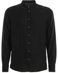 Paolo Fiorillo Capri Mandarin Collar Shirt - Schwarz
