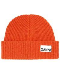 Ganni A3222 Recycled Wool Knit Hat - Orange