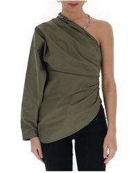 The Attico Asymmetrical ruched blouse - Vert