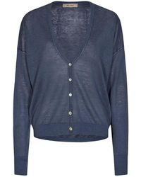 Mos Mosh Lark Linen Knit Cardigan Strik 132870 - Blauw
