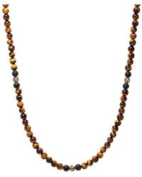 Nialaya Pre-order: Men's Beaded Necklace With Brown Tiger Eye, Matte Onyx And Gold - Bruin