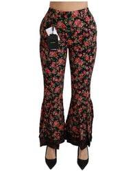 Dolce & Gabbana Flared High Waist Trousers Pants - Zwart