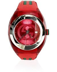 Gucci Sync Stainless Steel 137.1 Xxl Watch With Rubber Band - Rood