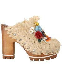 Dolce & Gabbana Mules Floral Slides - Naturel