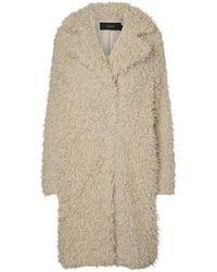 Vero Moda Lange Jas Faux Fur - Naturel