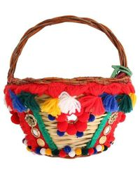 Dolce & Gabbana Agnese Straw Crystal Pom Pom Bag - Rood
