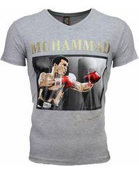 Local Fanatic T-shirt - Muhammad Ali Zegel Print - Grijs