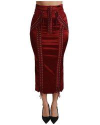 Dolce & Gabbana - Vita alta Acetato Gonna - Lyst