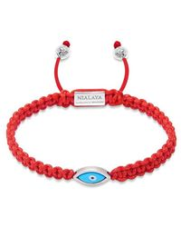 Nialaya Men's Red String Bracelet With Silver Evil Eye - Rood