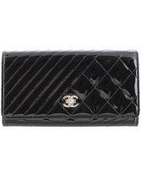 Chanel Vintage Pelle Coco Boy Patent Flap Portafoglio - Nero