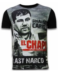 Local Fanatic El Chapo Last Narco - Digital Rhinestone T-shirt - Zwart