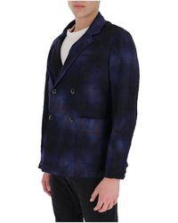 Barena Virgin wool plaid double-breasted blazer Azul