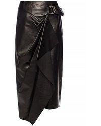 Isabel Marant Ruched Leather Skirt - Zwart