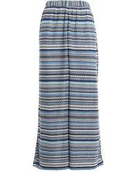 Paolo Fiorillo Capri Knitted Viscose Palazzo Trousers - Bleu