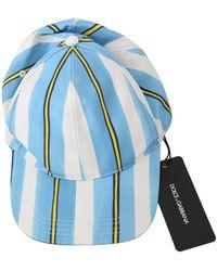 Dolce & Gabbana Stripes Baseball Cotton Cap - Blauw