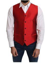 Dolce & Gabbana Silk Formal Waist Coat Vest - Rot