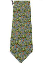 Dolce & Gabbana Silk Cactus Print Tie Azul