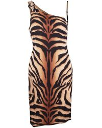 Versace - Animal Print One Shoulder Dress - Lyst