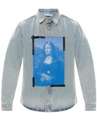 Off-White c/o Virgil Abloh Gedrukt Denim Shirt - Blauw
