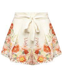 Zimmermann High-waisted Linen Shorts - Wit