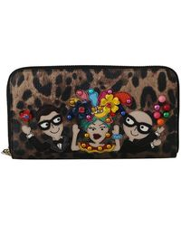 Dolce & Gabbana Leather #dgfamily Continental Wallet - Bruin