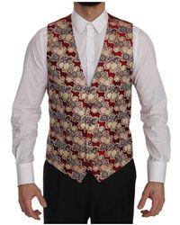 Dolce & Gabbana Jacquard Slim Fit Vest - Rood