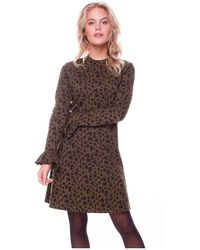 Colourful Rebel Robbie Leopard A-line Dress Jurken - Bruin