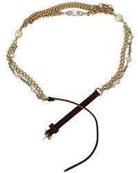 Dolce & Gabbana Leather Chain Crystal Waist Belt Morado - Negro
