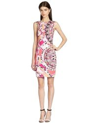 Emilio Pucci Sleeveless Signature Print Sheath Cotton Dress - Roze