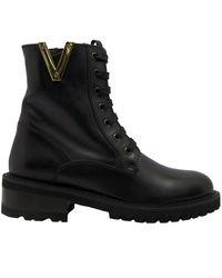 Via Roma 15 Leather Boots - Zwart