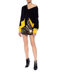 N°21 Sequined skirt with leopard print Marrón