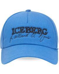 Iceberg Baseball Cap With Logo - Blauw