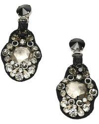 Prada Boucles d'oreilles pendantes en cristal d'occasion - Noir