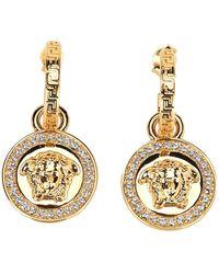 Versace Greca And Medusa Drop Earring - Geel