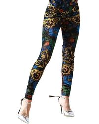 Versace Jeans Couture Baroque-print Leggings - Blauw