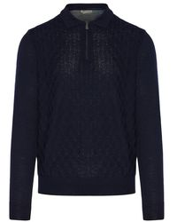 Corneliani Diamond knit jumper - Bleu