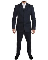 Romeo Gigli Two Piece Button Solid Suit - Blau