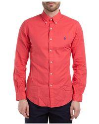 Polo Ralph Lauren Men's Long Sleeve Shirt Jurk Shirt - Rood
