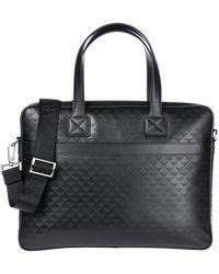 Emporio Armani Briefcase Attaché Case Laptop Pc Bag Leather - Zwart
