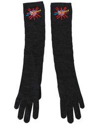 Dolce & Gabbana Dgloveslondon Geborduurde Handschoenen Van Scheerwol - Grijs