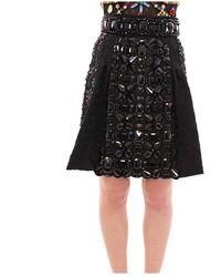 Dolce & Gabbana Crystal Handmade Above Knee Skirt - Zwart
