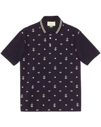 Gucci Polo Mm Stretch Piquet - Blauw