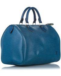 Louis Vuitton Cuero Epi Speedy 30 Azul
