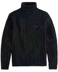 Sun 68 High Neck Sweater - Zwart