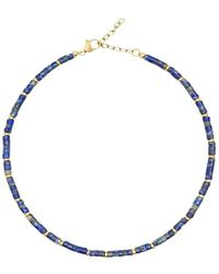 Nialaya Heishi Blue Lapis Choker With Gold - Blauw