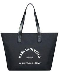 Karl Lagerfeld Statement Logo Canvas Tote Bag - Zwart