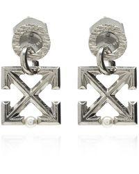 Off-White c/o Virgil Abloh Earrings With Logo - Grijs