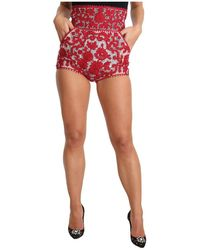 Dolce & Gabbana Floral Embroidered Mini Hot Shorts - Rood